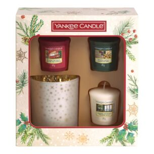 Magical Christmas Morning Three Votive Candle and Holder Gift Set