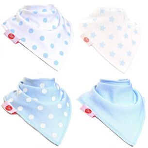 Blue & White Unboxed Bandana Bibs – 4 Pack