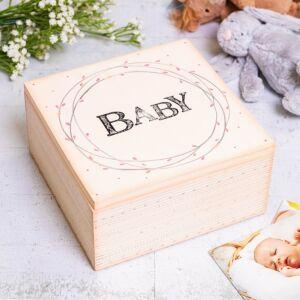 'Baby' Large Pink Striped Box