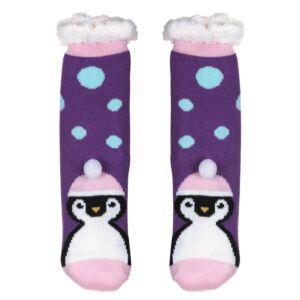 Nuzzles Ladies Pom Pom Penguin Purple Socks