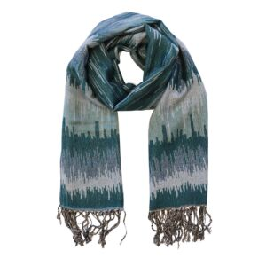 Watercolour and Silver Teal Pashmina