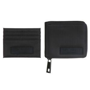 NEALSET Black Satin Nylon Wallet Gift Set