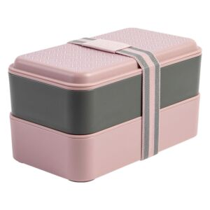 Dusky Pink T Lunchbox Stack with Cutlery