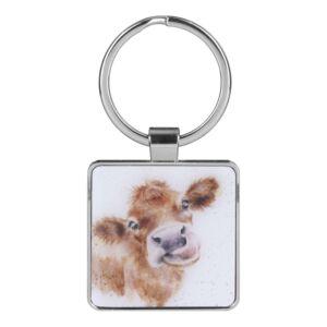 'Mooo' Cow Metal Keyring