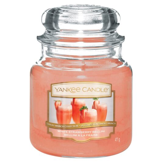 White Strawberry Bellini Medium Jar Candle