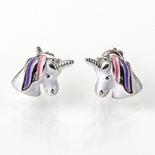Silver Plated Pink and Purple Unicorn Earrings