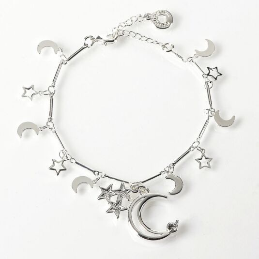 Silver Plated Celestial Stars Bracelet with Moon Charm