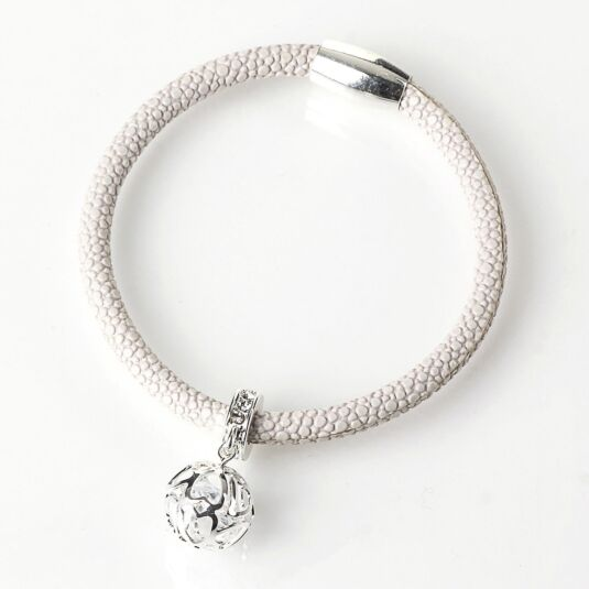 Silver Plated Woven Ball White Charm Bracelet