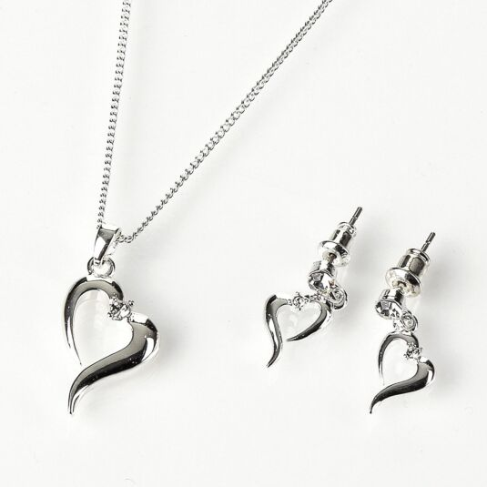 Silver Plated Open Heart Necklace and Earring Set