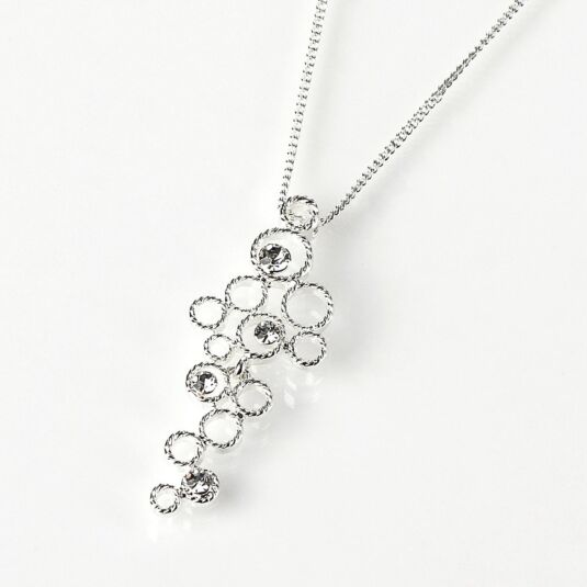 Silver Plated Cascading Circles Necklace