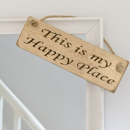 'This Is My Happy Place' Natural Wooden Sign