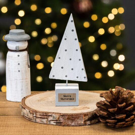 Small Wooden White Christmas Tree