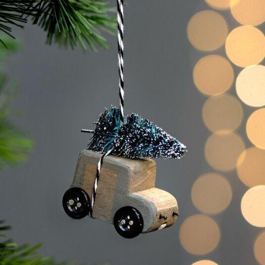 'Christmas Tree on Van' Hanging Decoration