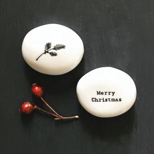 'Merry Christmas' Porcelain Pebble