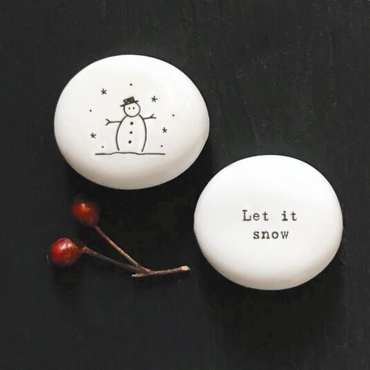 'Let It Snow' Porcelain Pebble