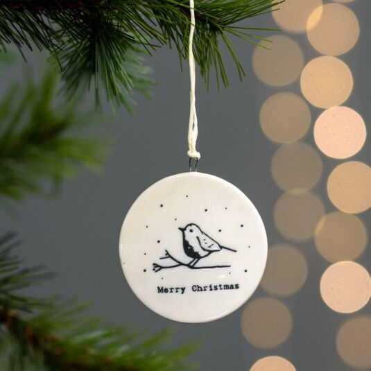 'Merry Christmas' Robin Flat Porcelain Bauble