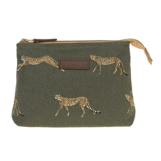 ZSL Cheetah Small Canvas Makeup Bag