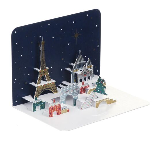 'Paris at Night' 3D Christmas Card