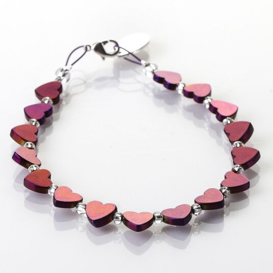 Royal Purple Haematite Hearts Bracelet
