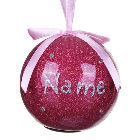 Personalised 'Your Name in Lights' Pink LED Bauble