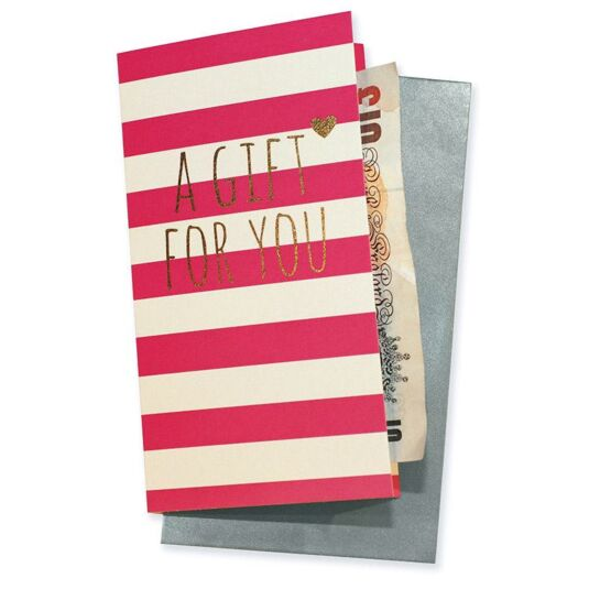 A Gift For You Pink Stripe Gift Wallet Card