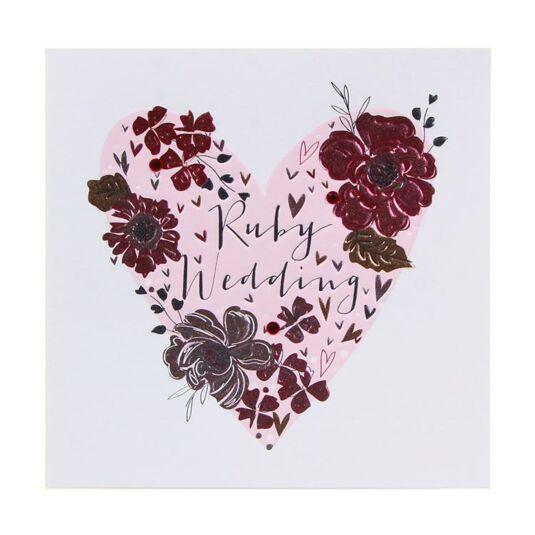 Ruby Wedding Heart Card