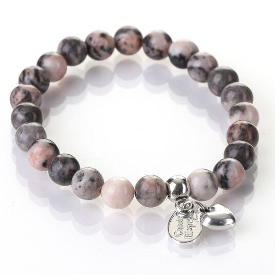 Pink Zebra Jasper Gemstone Heart Bracelet