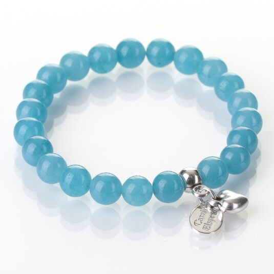 Blue Sponge Quartz Gemstone Heart Bracelet