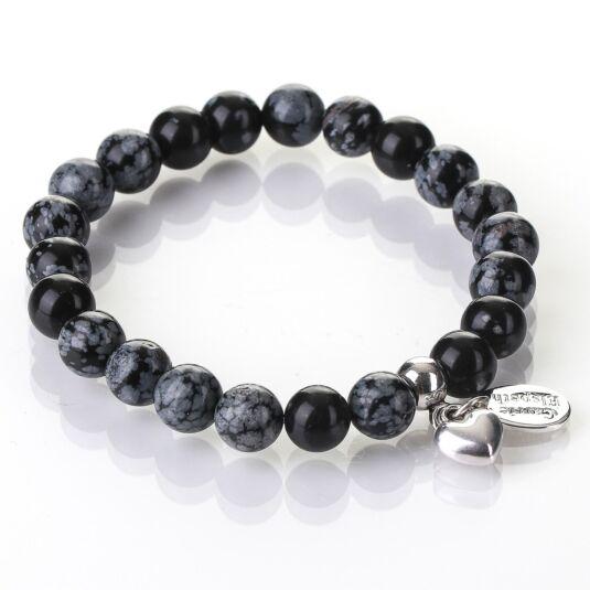 Snowflake Obsidian Gemstone Heart Bracelet