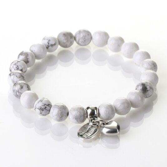 Howlite Gemstone Heart Bracelet