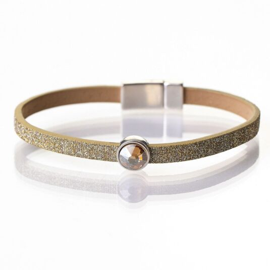 Gold Sparkle Swarovski Crystal Leather Bracelet