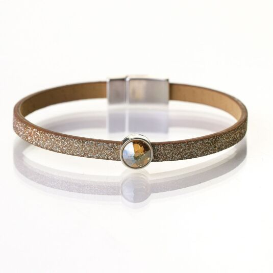 Rose Gold Sparkle Swarovski Crystal Leather Bracelet