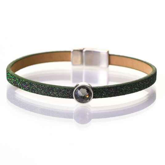 Olive Sparkle Swarovski Crystal Leather Bracelet