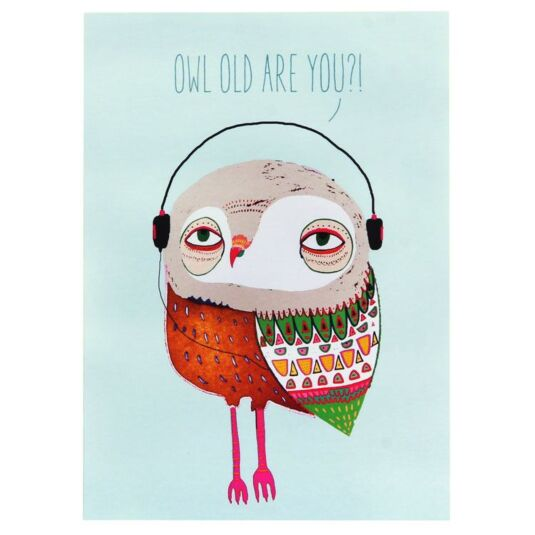 Wild Style Owl Old Are You Birthday Card