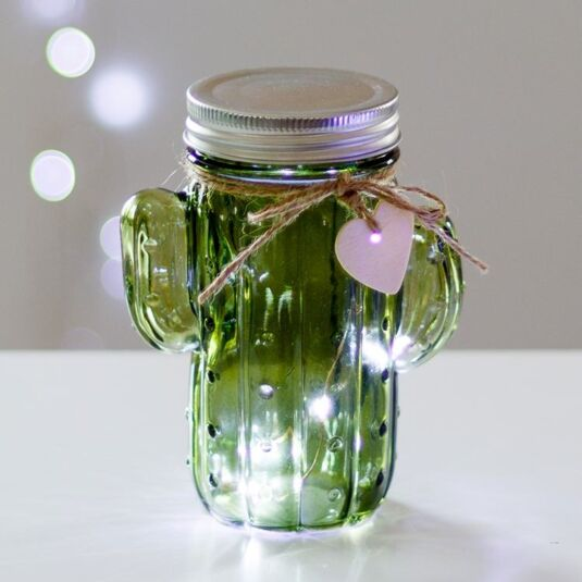 Green LED Firefly Cactus Jar