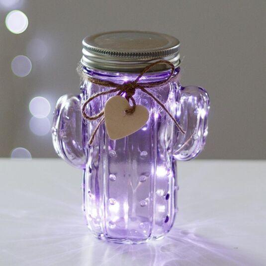 Purple LED Firefly Cactus Jar