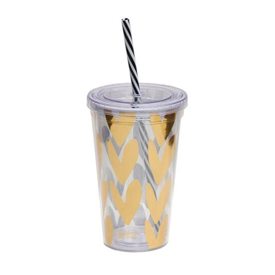 Gold Hearts Cup with Straw
