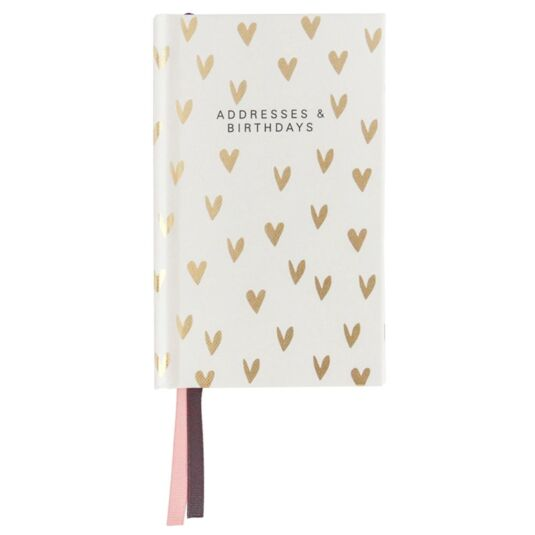 Mini Scattered Heart Gold Address and Birthday Book