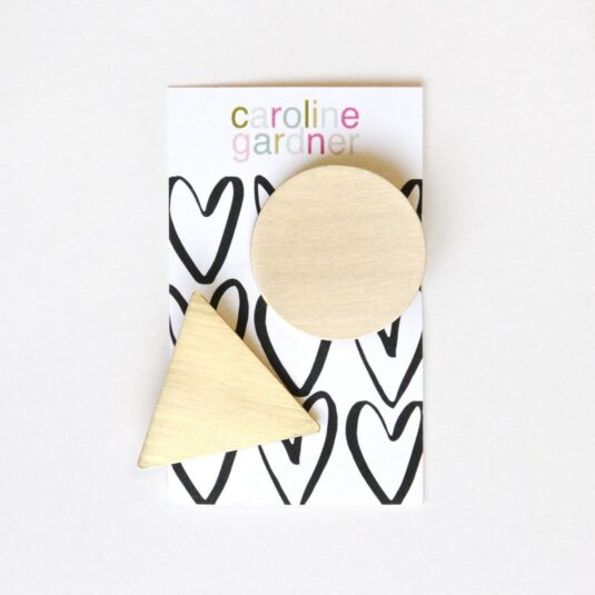 Brushed Gold Geometric Hair Clips