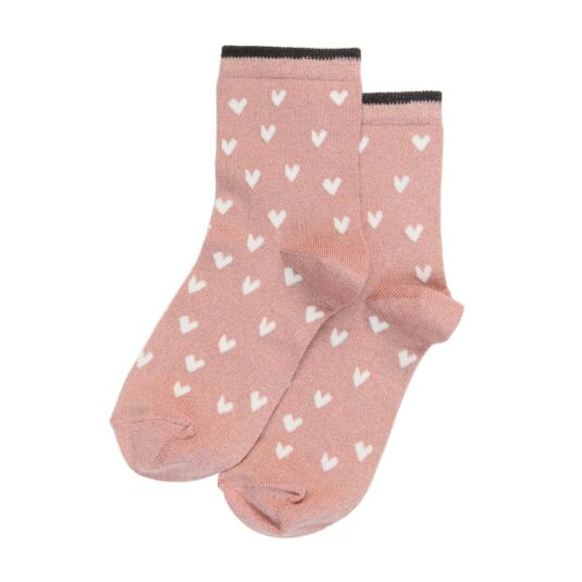 Pink & White Heart Socks