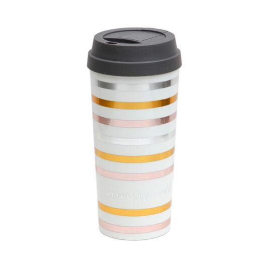 Metallic Stripe Travel Mug