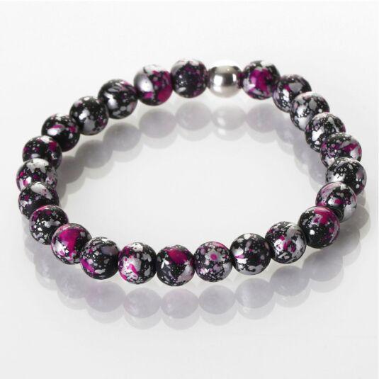 Pink and Black Shimmer Marble Bracelet