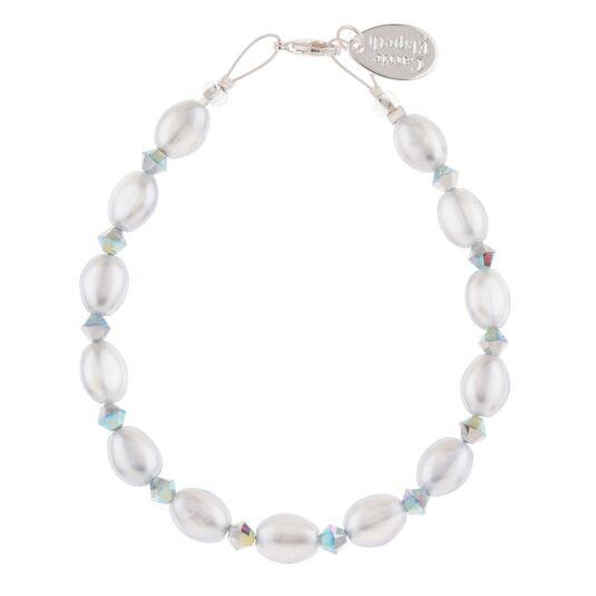 Grey Pearl & Crystal Bridal Bracelet