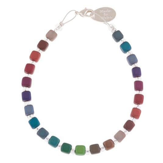 Rainbow Satin Cubes Full Bracelet