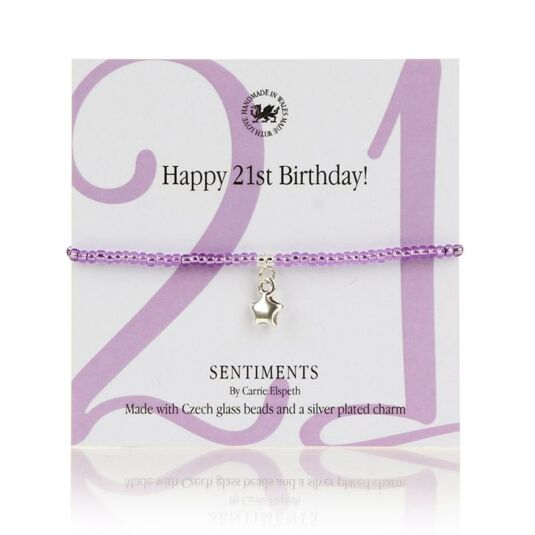 Happy 21st Birthday! Sentiments Bracelet