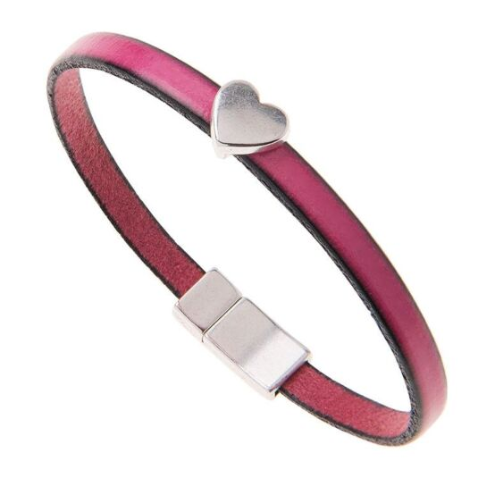 Fuchsia Pink Leather Heart Charm Bracelet