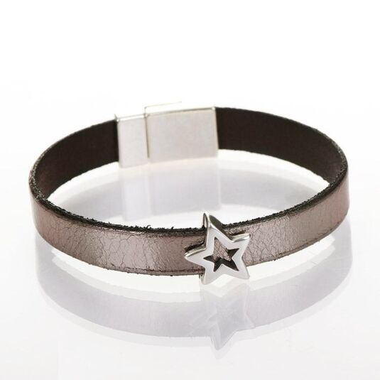 Gun Metal Wide Leather Star Charm Bracelet