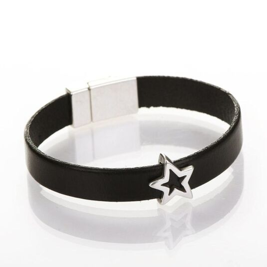 Black Wide Leather Star Charm Bracelet