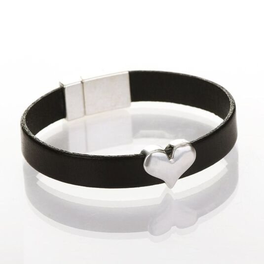 Black Wide Leather Heart Charm Bracelet