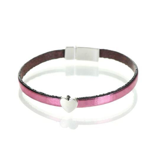 Metallic Rose Leather Heart Charm Bracelet